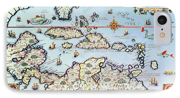 Map Of The Caribbean Islands And The American State Of Florida Phone Case by Theodore de Bry