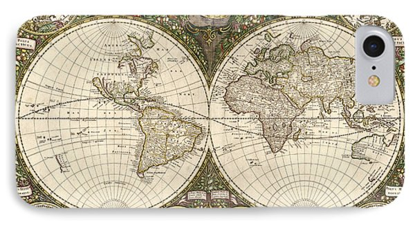 Map Of The World, 1660 Phone Case by Photo Researchers