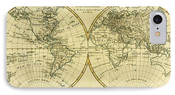 Map Of The World In Two Hemispheres Phone Case by Guillaume Raynal