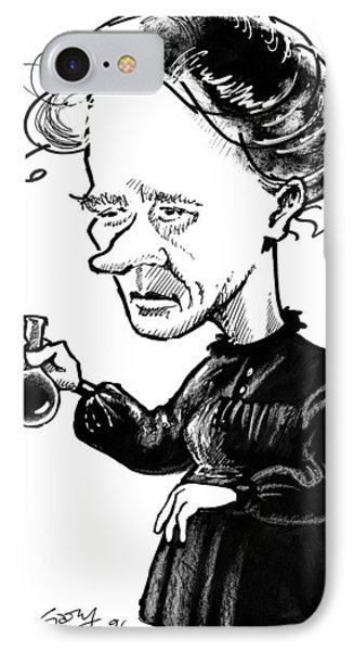 Marie Curie, Caricature Phone Case by Gary Brown