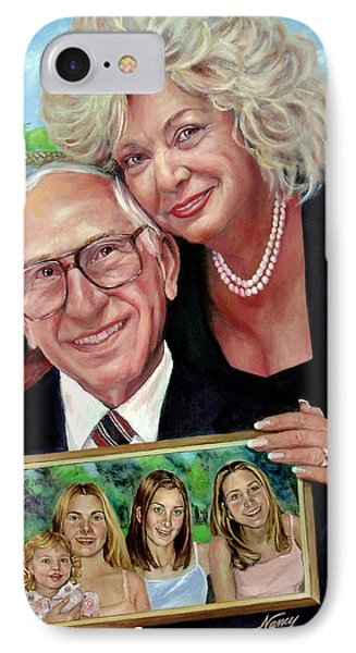 IPhone Case featuring the painting Marilyn's Inlaws And Their Grandchildren by Nancy Tilles