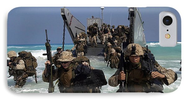 Marines Disembark A Landing Craft Phone Case by Stocktrek Images