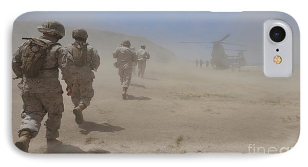 Marines Move Through A Dust Cloud Phone Case by Stocktrek Images