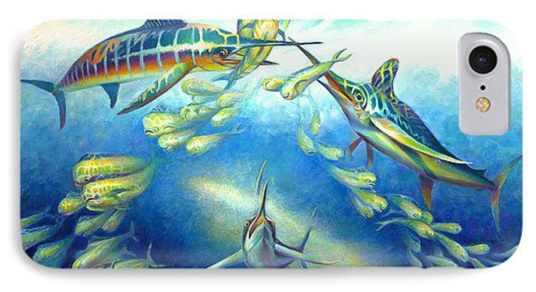 IPhone Case featuring the painting Marlin Frenzy by Nancy Tilles