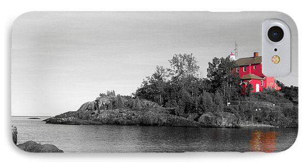 IPhone Case featuring the photograph Marquette Harbor Lighthouse Selective Color by Mark J Seefeldt