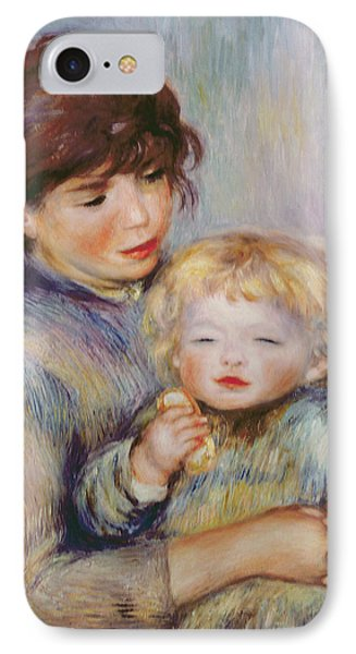 Maternity Or Child With A Biscuit Phone Case by Pierre Auguste Renoir