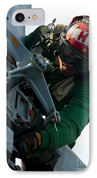 Mechanic Inspects An Mh-60r Sea Hawk Phone Case by Stocktrek Images