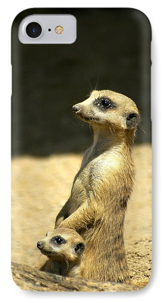 Meerkat iPhone 7 Case - Meerkat Mother And Baby by Carolyn Marshall