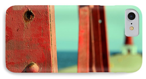 Menominee Lighthouse With Tower Detail Phone Case by Mark J Seefeldt