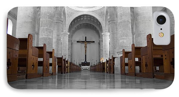 IPhone Case featuring the photograph Merida Mexico Cathedral Interior Color Splash Black And White by Shawn O'Brien