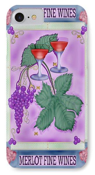 Merlot Fine Wines Orchard Box Label Phone Case by Anne Norskog