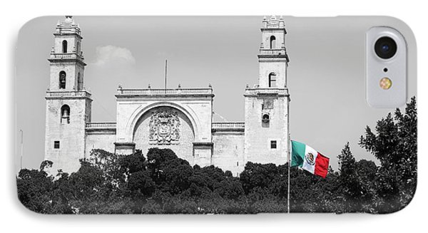 IPhone Case featuring the photograph Mexico Flag On Merida Cathedral San Ildefonso Town Square Color Splash Black And White by Shawn O'Brien
