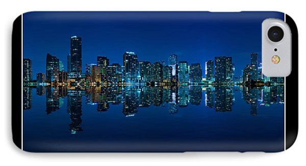 IPhone Case featuring the photograph Miami Skyline Night Panorama by Carsten Reisinger