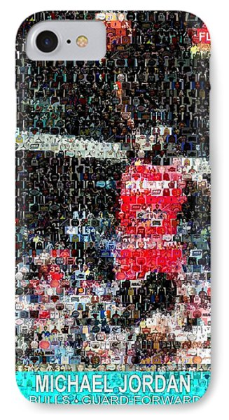 Michael Jordan Rookie Mosaic Phone Case by Paul Van Scott