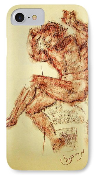 Michelangelo Sketch In Terra Cotta Chalk Drawing On Textured Paper Of Nude Male Sistine Chapel IPhone Case