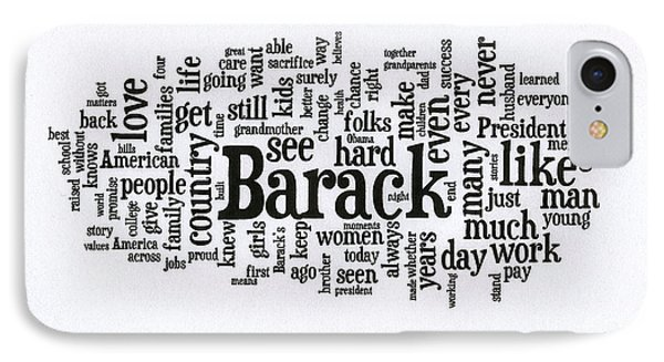 Michelle Obama Wordcloud At D N C IPhone Case by David Bearden