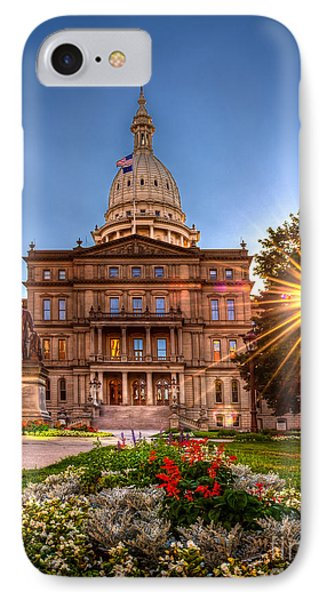 Michigan Capitol - Hdr - 2 IPhone Case by Larry Carr