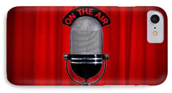 Microphone On Stage With Spotlight On Red Curtain Phone Case by Richard Thomas