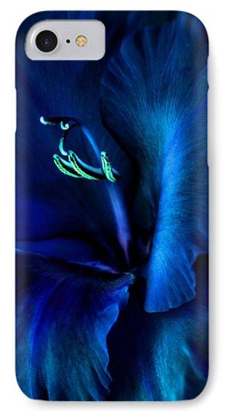 Midnight Blue Gladiola Flower Phone Case by Jennie Marie Schell