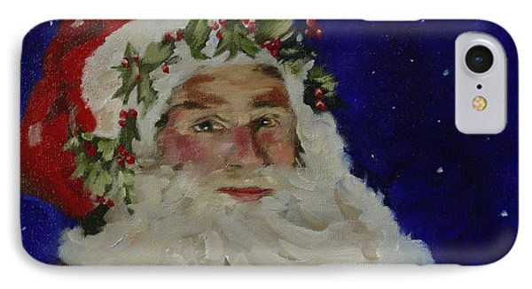 IPhone Case featuring the painting Midnight Santa by Carol Berning