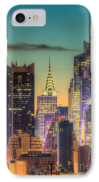 Midtown Buildings Morning Twilight Phone Case by Clarence Holmes