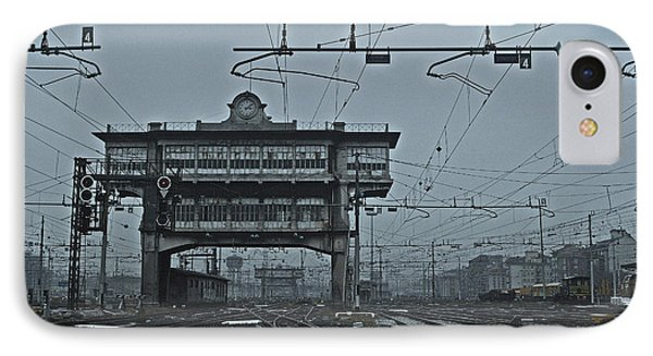 IPhone Case featuring the photograph Milan Central Station Italy In The Fog by Andy Prendy