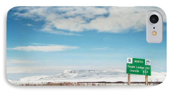 Milepost At The Dempster Highway IPhone Case by Priska Wettstein