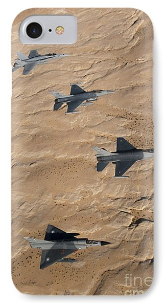 Military Fighter Jets Fly In Formation Phone Case by Stocktrek Images