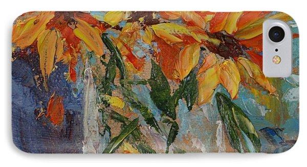 Mini Sunflowers In A Mason Jar IPhone Case by Carol Berning