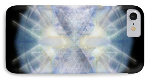 IPhone Case featuring the digital art Mirror Emergence II Blue N Teal by Christopher Pringer