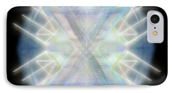 IPhone Case featuring the digital art Mirror Emergence IIi Blue Green Teal by Christopher Pringer