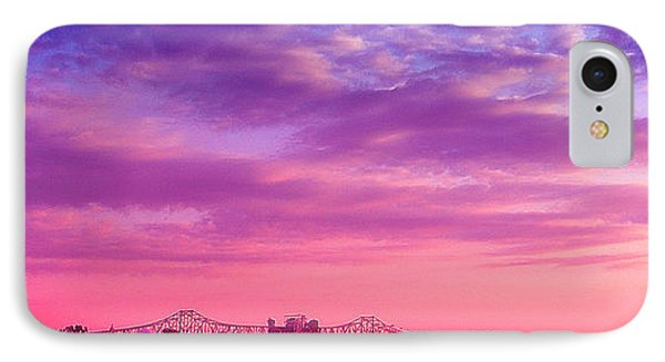 Mississippi River Bridge At Twilight IPhone Case by Judi Bagwell