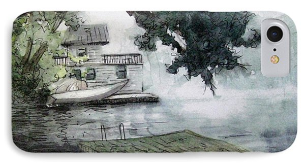 IPhone Case featuring the painting Misty Dock At Lake Rabun by Gretchen Allen
