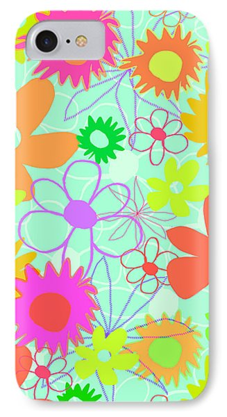 Mixed Flowers Phone Case by Louisa Knight
