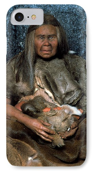 Model Of A Neanderthal Woman Holding A Baby IPhone Case