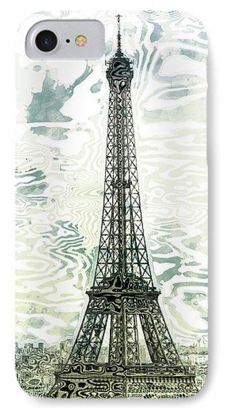 Modern-art Eiffel Tower 12 IPhone Case by Melanie Viola