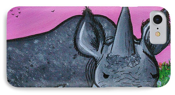 Momma And Baby Rhino Phone Case by Jera Sky