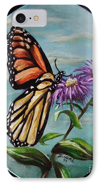 IPhone Case featuring the painting Monarch And Aster by Karen  Ferrand Carroll