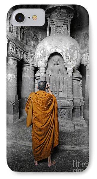 Monk At Ajanta Caves India IPhone Case by Sumit Mehndiratta