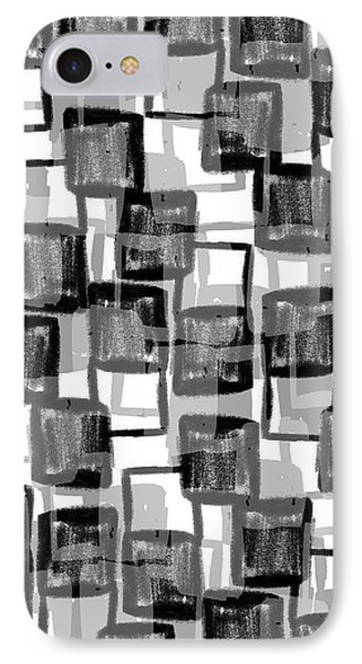 Monochrome Squares IPhone Case by Louisa Knight