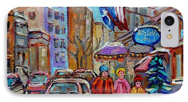 Montreal Street Scenes In Winter Phone Case by Carole Spandau