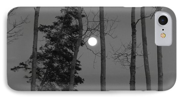 IPhone Case featuring the photograph Moon Birches Black And White by Francine Frank