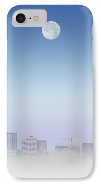 Moon Over Buildings Phone Case by Kelly Redinger