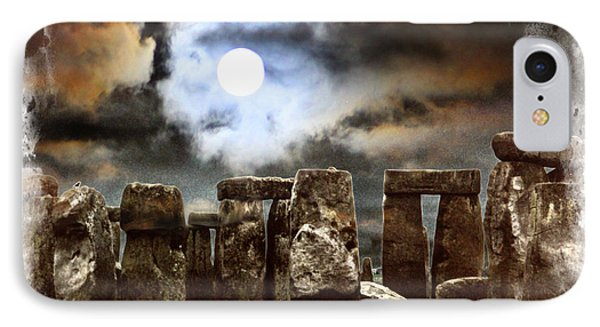Moon Over Stonehenge Phone Case by Diana Haronis