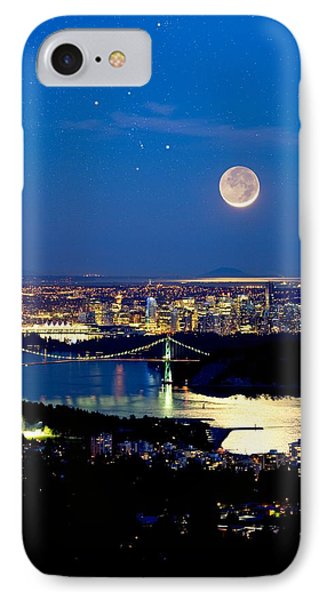 Moon Over Vancouver, Time-exposure Image Phone Case by David Nunuk