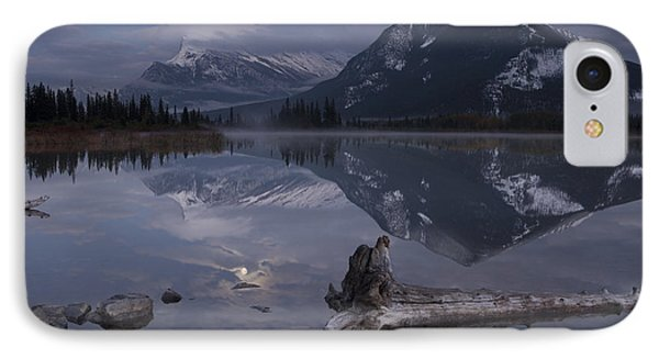 Moonrise Over Banff IPhone Case by Keith Kapple