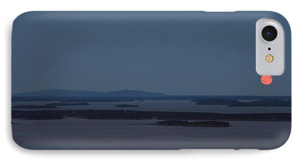 Moonrise Over Penobscot Bay And Acadia National Park From Camden Hills Phone Case by John Burk