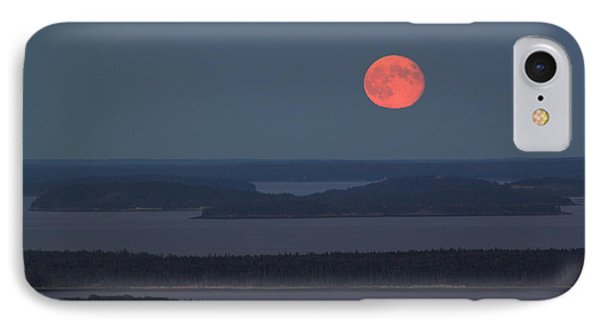 Moonrise Over Penobscot Bay From Camden Hills Phone Case by John Burk