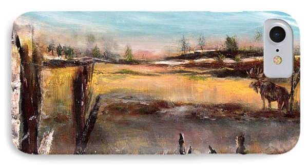 IPhone Case featuring the painting Moose Landscape by France Laliberte