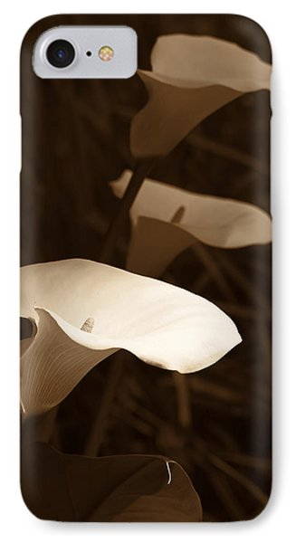 Morning Calla Lilies Sepia Phone Case by Jennie Marie Schell